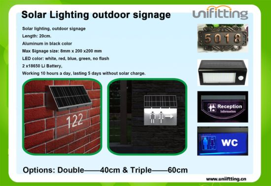 Unifitting Factory Sale Solar LED Lighting Signage Outdoor Use Door Gate Sign